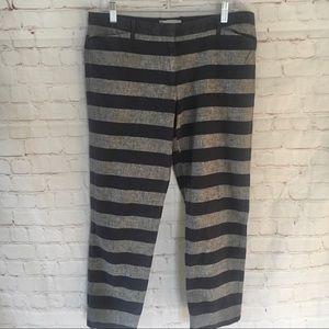GAP slim & cropped navy blue chambray stripe pants